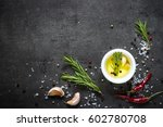 selection of spices herbs and... | Shutterstock . vector #602780708