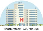 hospital building in flat... | Shutterstock .eps vector #602785358