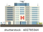 hospital building in flat... | Shutterstock .eps vector #602785364