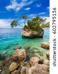adriatic sea in brela on... | Shutterstock . vector #602795156