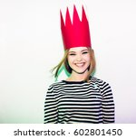 party girl in colorful... | Shutterstock . vector #602801450