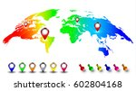 creative world map in rainbow... | Shutterstock .eps vector #602804168