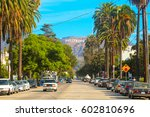 hollywood sign district in los... | Shutterstock . vector #602810696