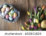 Easter Eggs. Colorful Bokeh ...