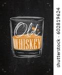 poster glass of whiskey... | Shutterstock .eps vector #602819624