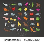 set of animals color origami... | Shutterstock .eps vector #602820530