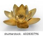 3d Illustration Of Golden Lotu...