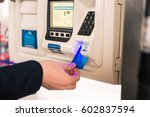 paying for gas. mans hand...   Shutterstock . vector #602837594