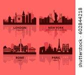 usa city skyline vector | Shutterstock .eps vector #602844218