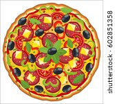 pepperoni pizza icon with... | Shutterstock .eps vector #602851358