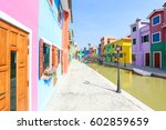 colorful building in ratchaburi ... | Shutterstock . vector #602859659
