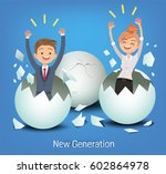 the business man and woman on... | Shutterstock .eps vector #602864978