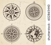 set of vintage antique wind... | Shutterstock .eps vector #602865440