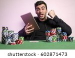 ecstatic man with tablet... | Shutterstock . vector #602871473