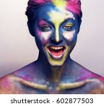 beauty woman with creative make ... | Shutterstock . vector #602877503