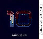 10 anniversary  letter ten... | Shutterstock .eps vector #602878340