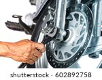 cropped view of motorcycle... | Shutterstock . vector #602892758