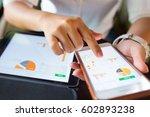 businesswoman check data in...   Shutterstock . vector #602893238