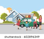 family carrying boxes into new... | Shutterstock .eps vector #602896349