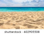 beautiful sand beach | Shutterstock . vector #602905508