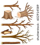 firewood and stump trees ... | Shutterstock .eps vector #602914589