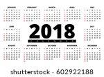 2018 year calendar. horizontal... | Shutterstock .eps vector #602922188