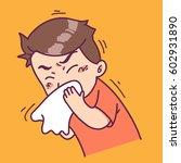 sneezing man | Shutterstock .eps vector #602931890