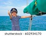 happy little baby captain on... | Shutterstock . vector #602934170