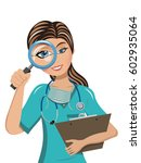 woman doctor examining or... | Shutterstock .eps vector #602935064