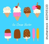 ice cream cones and popsicles... | Shutterstock .eps vector #602935133