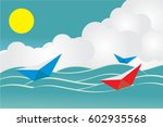 paper boat on the ocean wide ... | Shutterstock .eps vector #602935568