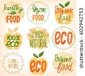 set healthy food  eco food ... | Shutterstock .eps vector #602942753