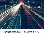 urban traffic with cityscape in ... | Shutterstock . vector #602955773