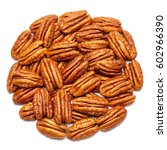 closeup of pecan nuts  isolated ...   Shutterstock . vector #602966390