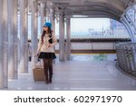 asian travel woman wearing... | Shutterstock . vector #602971970