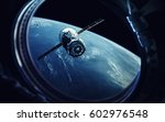 view from spaceship porthole.... | Shutterstock . vector #602976548