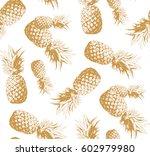 seamless pattern. pineapple... | Shutterstock .eps vector #602979980