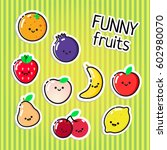 collection of vector fruits... | Shutterstock .eps vector #602980070