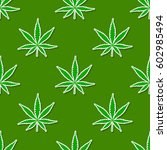 seamless pattern with cannabis... | Shutterstock .eps vector #602985494