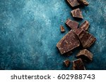 dark chocolate pieces crushed... | Shutterstock . vector #602988743