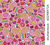 seamless pattern with sweets... | Shutterstock .eps vector #602989724