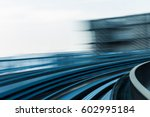 city train moving blurred... | Shutterstock . vector #602995184