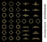 gold vintage decor elements and ... | Shutterstock .eps vector #603006668