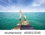 old wooden pier with seascape... | Shutterstock . vector #603012530