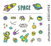 set of space stickers. vector... | Shutterstock .eps vector #603014918