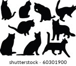 Stock vector cats silhouette collection vector 60301900