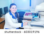 young doctor girl with a folder ... | Shutterstock . vector #603019196