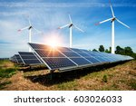 photo collage of solar panels... | Shutterstock . vector #603026033