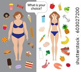 healthy and unhealthy eating... | Shutterstock .eps vector #603027200
