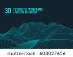 abstract 3d wireframe landscape ... | Shutterstock .eps vector #603027656